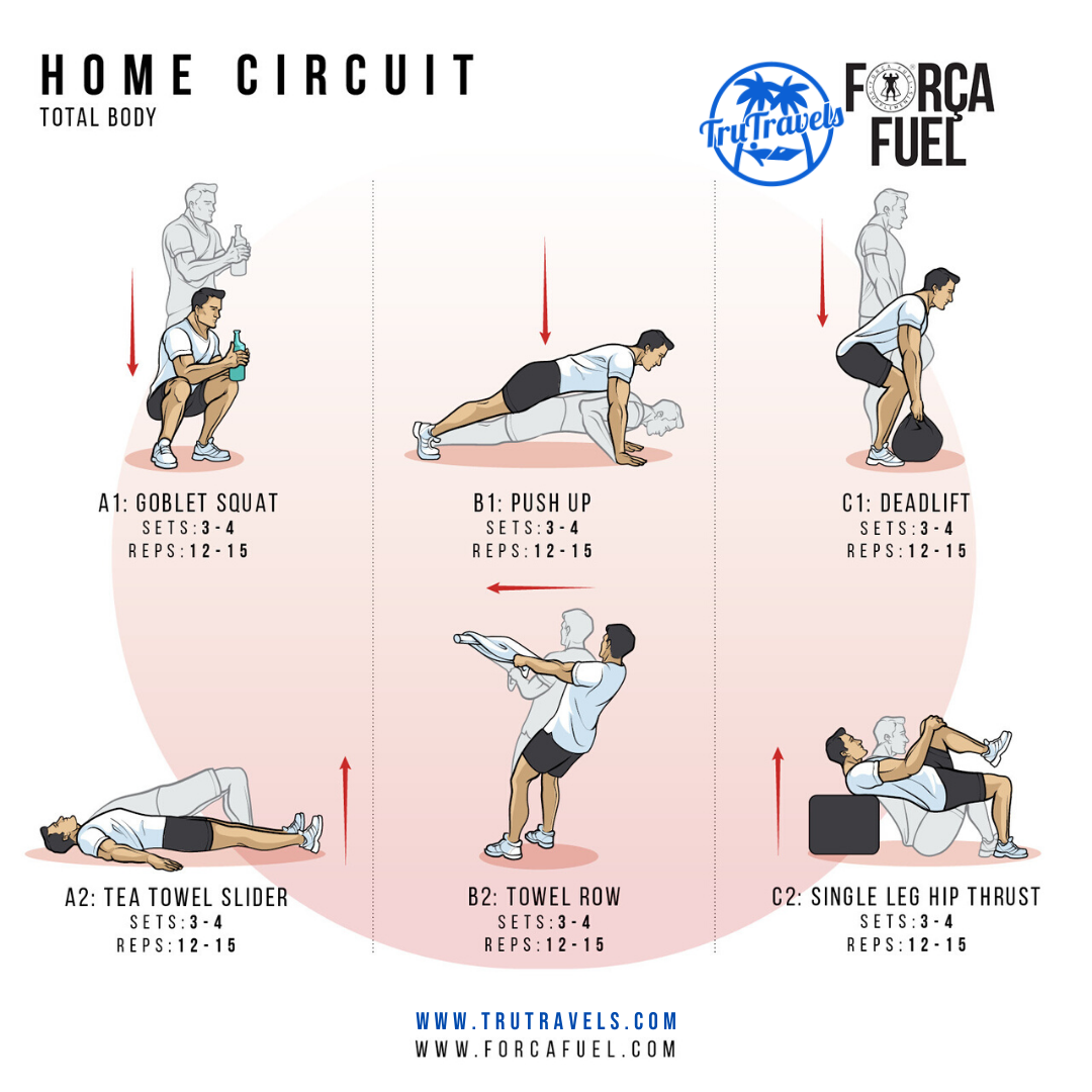 Home circuit graphic - man performing exercises