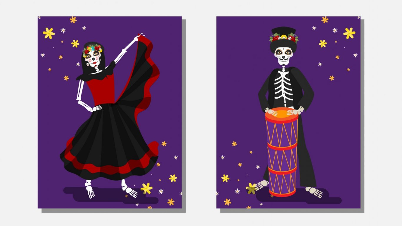 Dancing skeletons - day of the dead