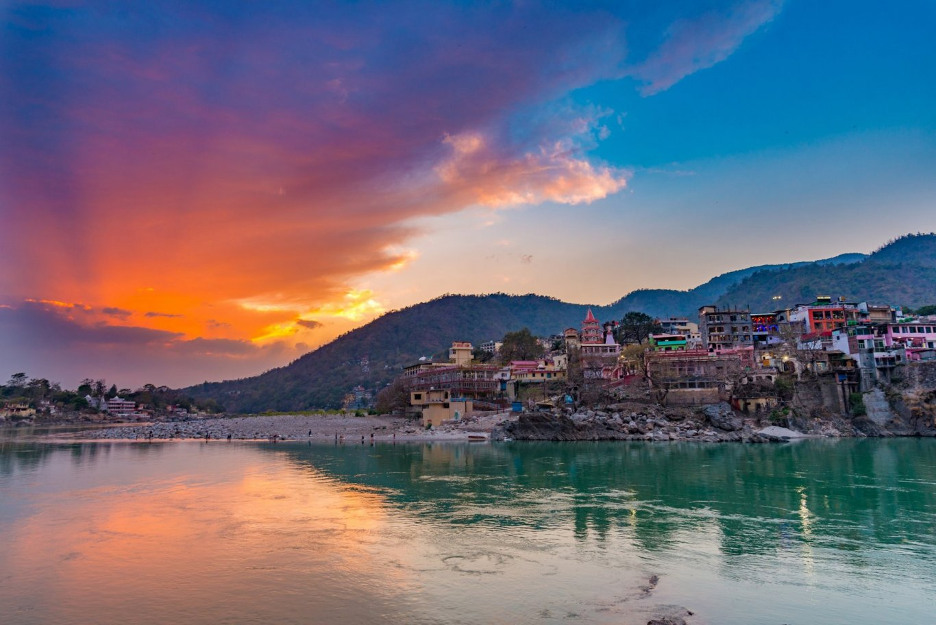 Rishikesh, India. Sunset overlooking Ganges river.