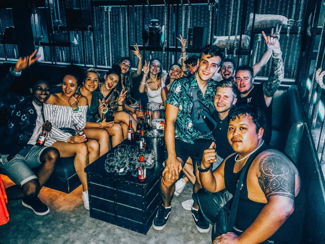 Group at a bar, Cancun Mexico