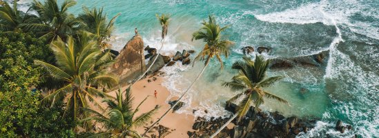 view from the sky of beautiful Beach and Palm trees with two People walking on beach and climbing on rocks