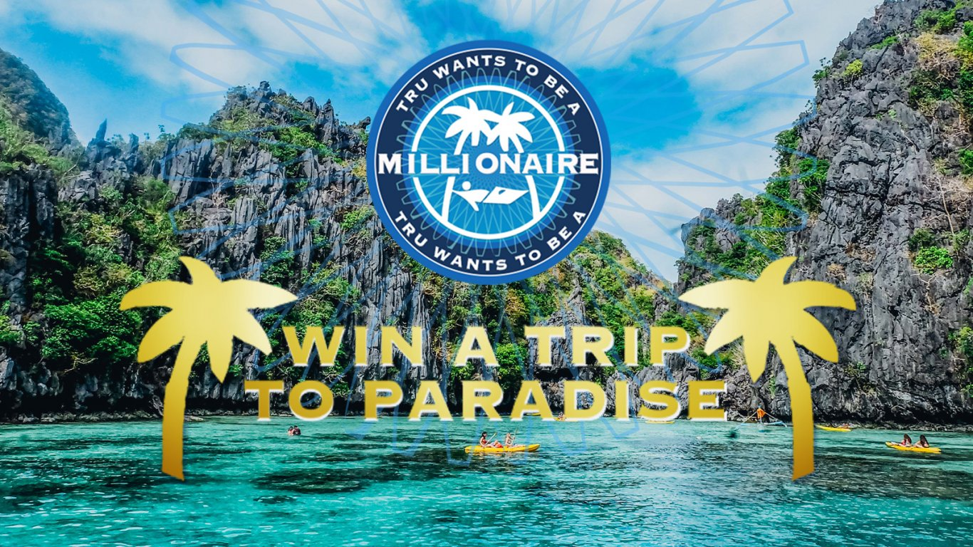 Win a Trip To Paradsie with Tru Wants to Be A Millionaire logo above with sea and islands in the background