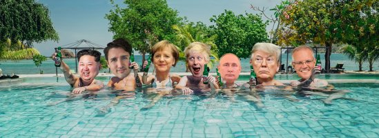 World Leaders in Pool with Beers enjoying the sun with Palm Trees and Ocean Putin Trump Merkel Trudeau