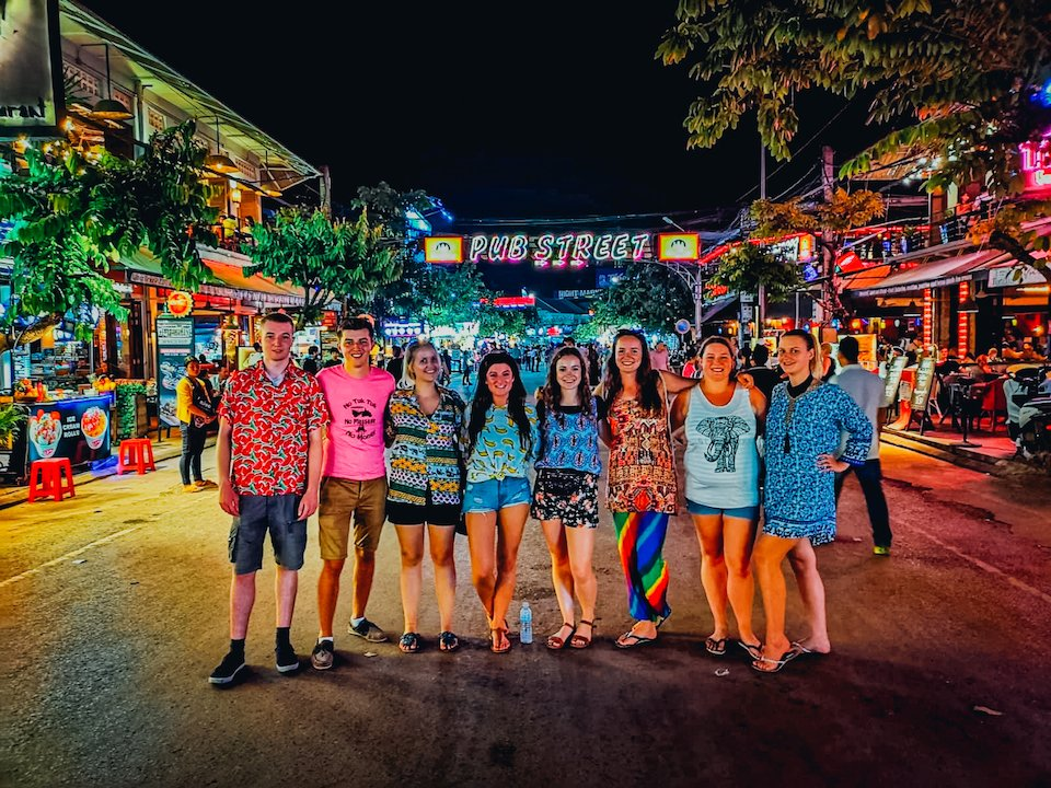 A group of our Tru Travellers on a night out on Pub Street, Siem Reap, Cambodia