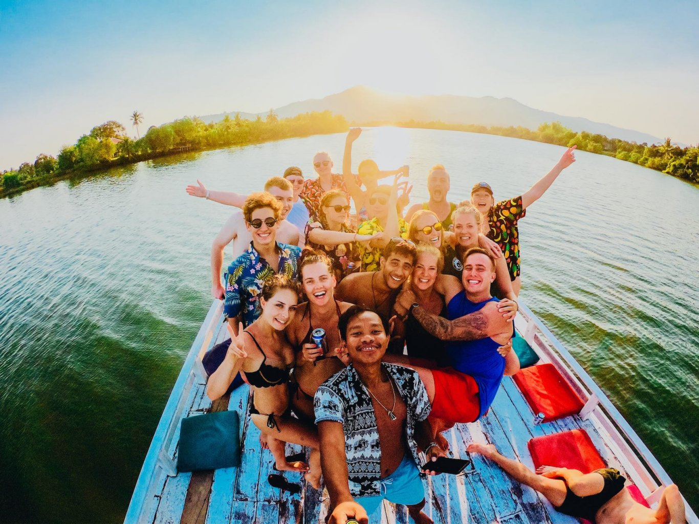 Group photo on boat