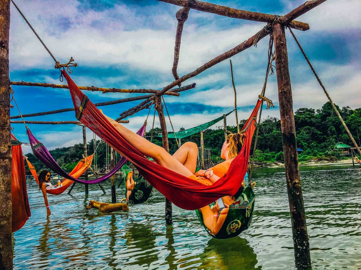 lying in a sea hammock, Cambodia