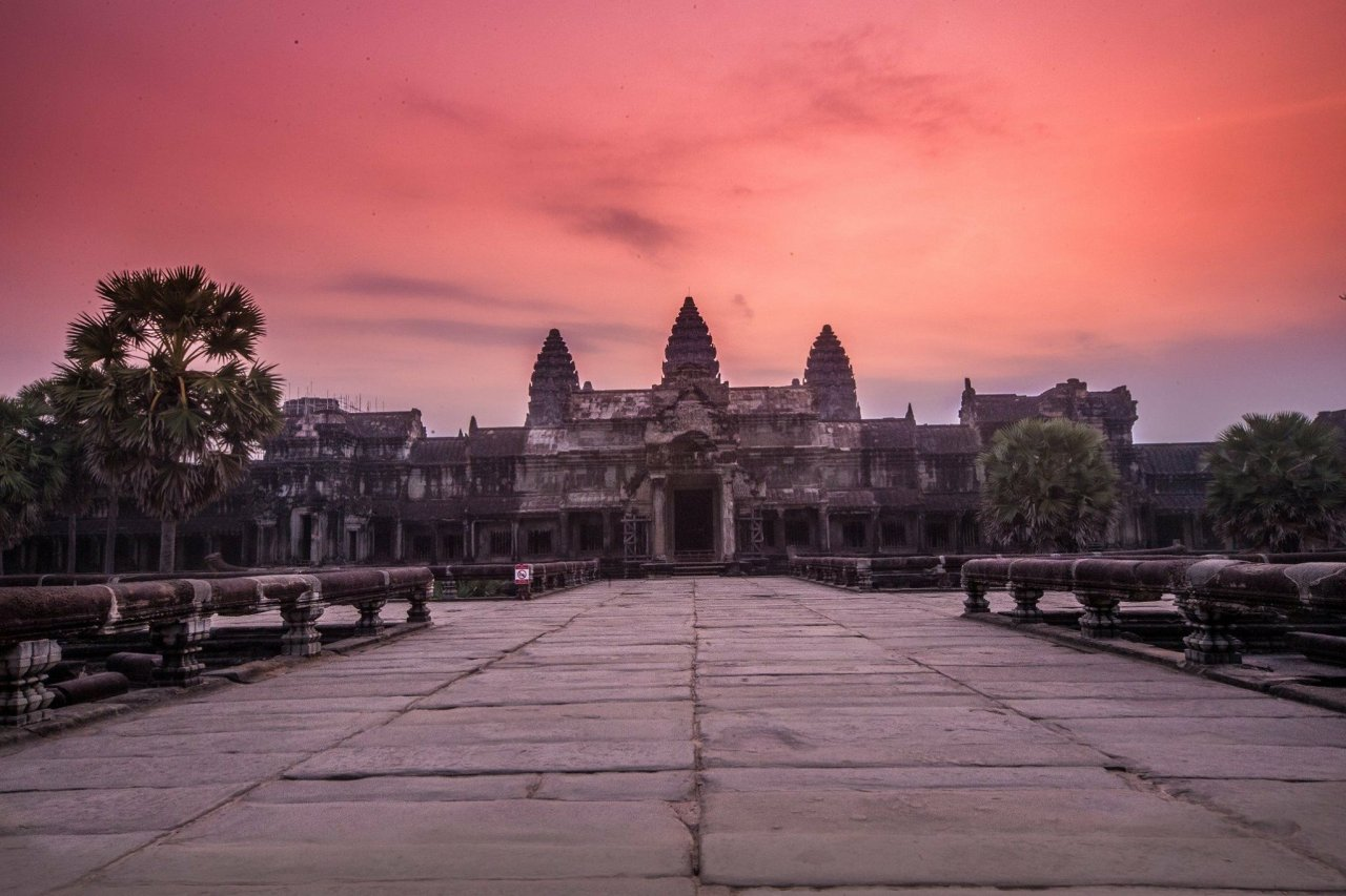Sunrise at Angkor Wat temple, Cambodia