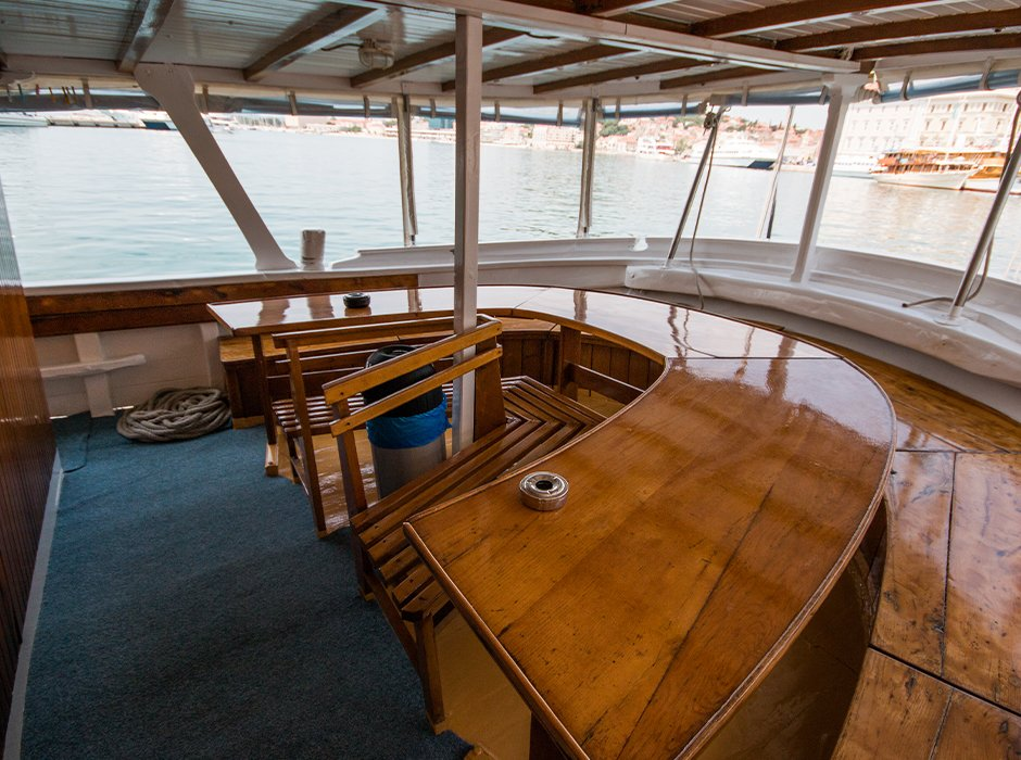 Seating area on the yacht in Croatia