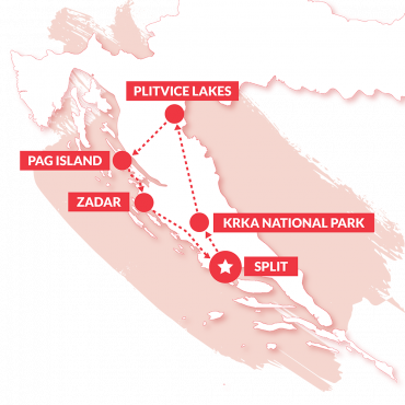 Croatia explorer map, showing the route