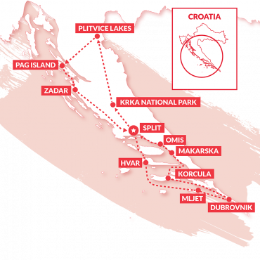 A map of the Croatia Sail and Explore route