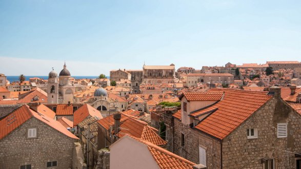 An aerial picture from above the roofs of the terracotta houses in Dubrovnik, Croatia