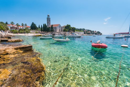 Crystal clear turquoise water at the island of Hvar in Croatia