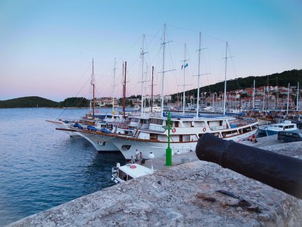The marina at the island of Korcula, Croatia at sunset