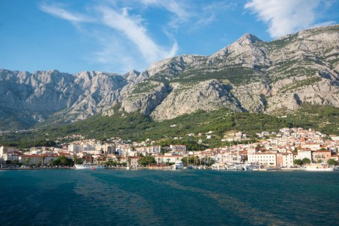 Beautiful view of the mountains and the town of Makarska, Croatia