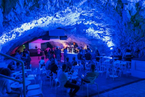 A cave disco in the town Makarska, Croatia