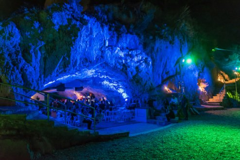A photo of  a disco in Makarska cave with bright lights in Croatia