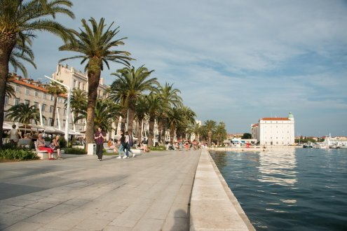 A photo of the waterfront along Split, Croatia with palm trees lining the walkway
