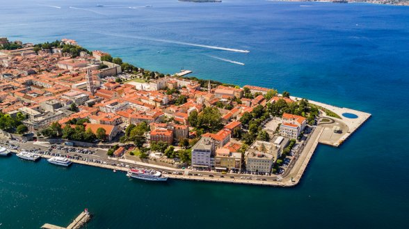An aerial view of Zadar, Croatia, showing the picturesque town and the bright and deep blue sea