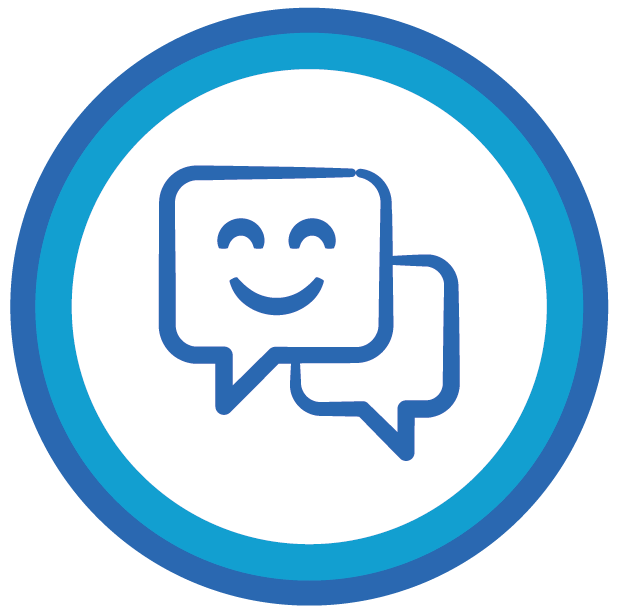 small icon of chat box with Smiling face