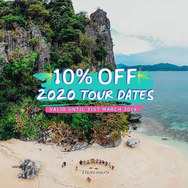 Sky view of beach and island with text overlaying - 10% off 2020 tour dates valid until 31st March 2019