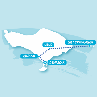 Blue graphic map Bali showing stops
