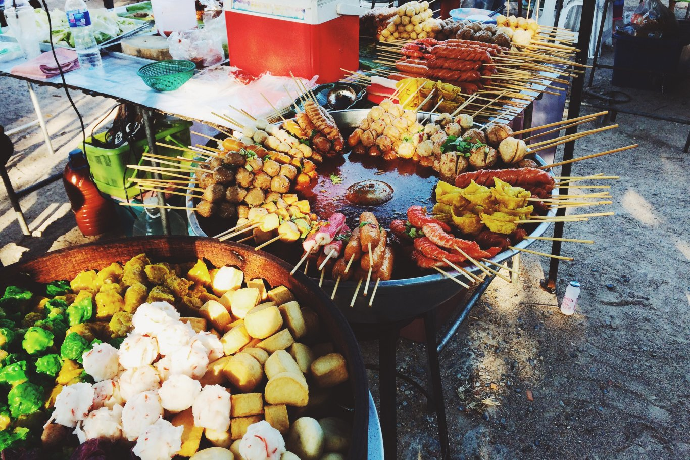 A photo of a stall with different foods