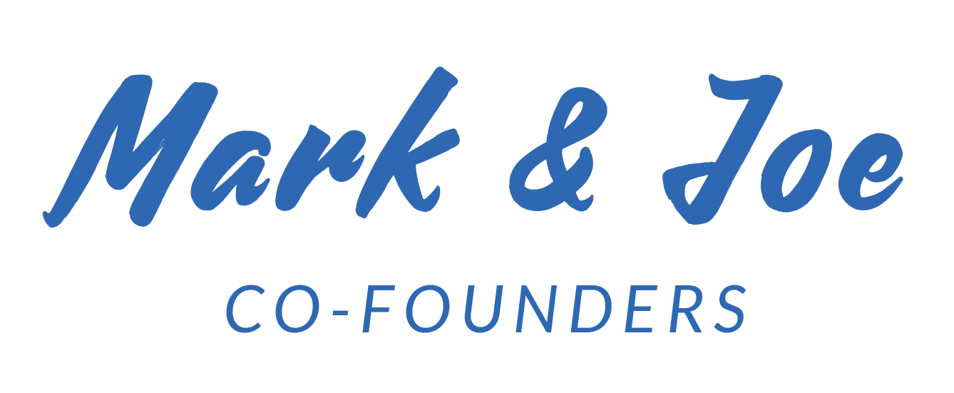 Blue writing - Mark & Joe Co Founders