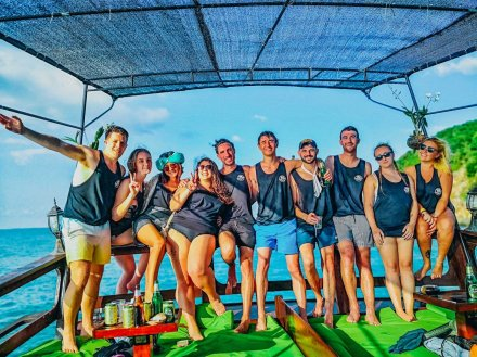 A group photo on the boat in Koh Phangan Thailand