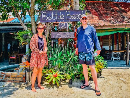 A couple at enjoying time at bottle beach Koh Phangan Thailand