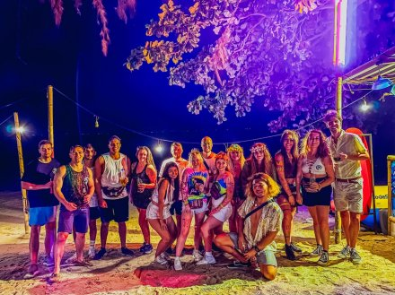 Colourful group picture ready for the full moon party