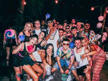 Group photo at the full moon party in Koh Phangan Thailand