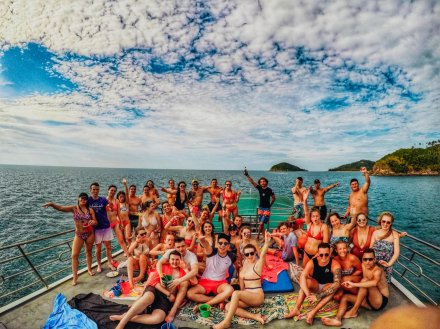 A group photo on a boat trip in Koh Phangan