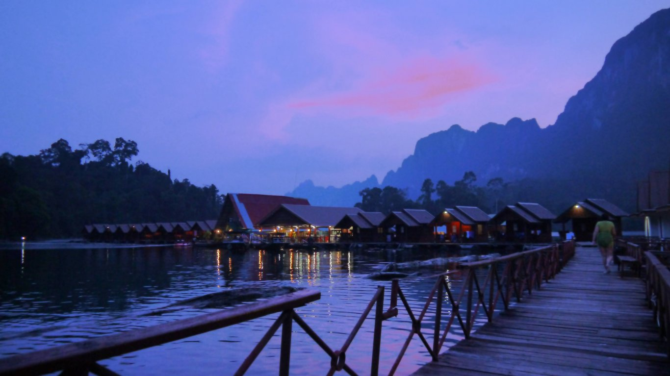 Khao Sok National Park tour - floating bungalows at night