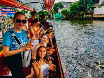A group shot on the river cruise in Bangkok Thailand