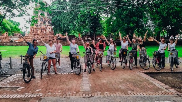 A group photo during the bike ride around the temples in Ayutthaya Chiang Mai Thailand