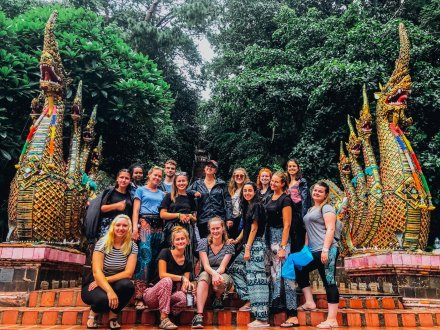 A group photo at the temple Wat Phra That Doi Suthep in Chiang Mai Thailand