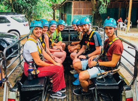 A group photo on the truck before going to the zip line in Chiang Mai Thailand