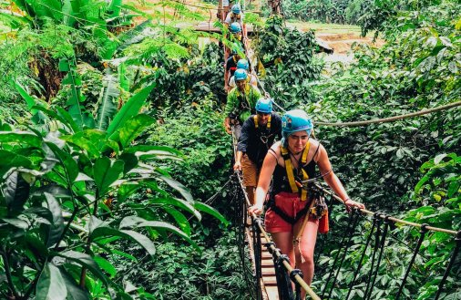 A group taking part in the zip line in Chiang Mai Thailand