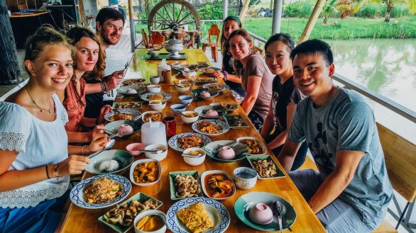 The group finished with their cooking class in Chiang Mai ready to taste the dishes