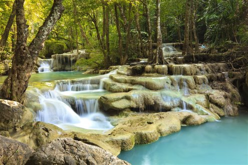 The serene Erawan falls in Thailand