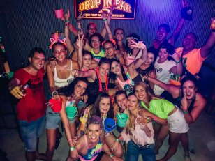 A group shot at the full moon party in Koh Phangan Thailand