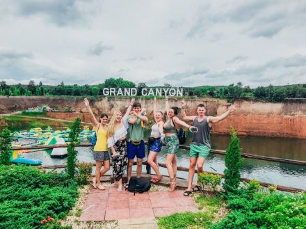 A group photo at the grand canyon in Chiang Mai Thailand