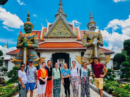 A group shot at the temple Wat Phra Kaew in Bangkok Thailand
