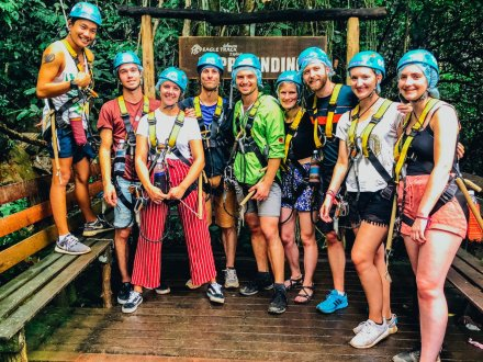 A group photo before going ziplining in Chaing Mai Thailand