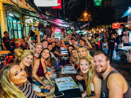 A group photo at Khao San road in Bangkok Thailand