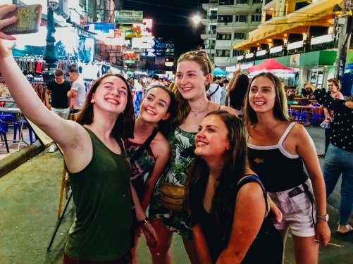 A group selfie at Khao San road Bangkok
