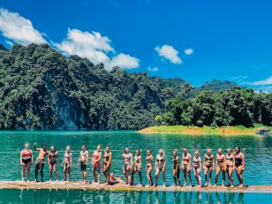 Group photo at Khao Sok national park's floating bungalows in Thailand