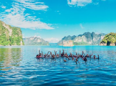 A group photo in the lake at Khao Sok national park in Thailand