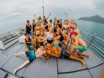 Group photo at the boat party in Koh Phangan Thailand