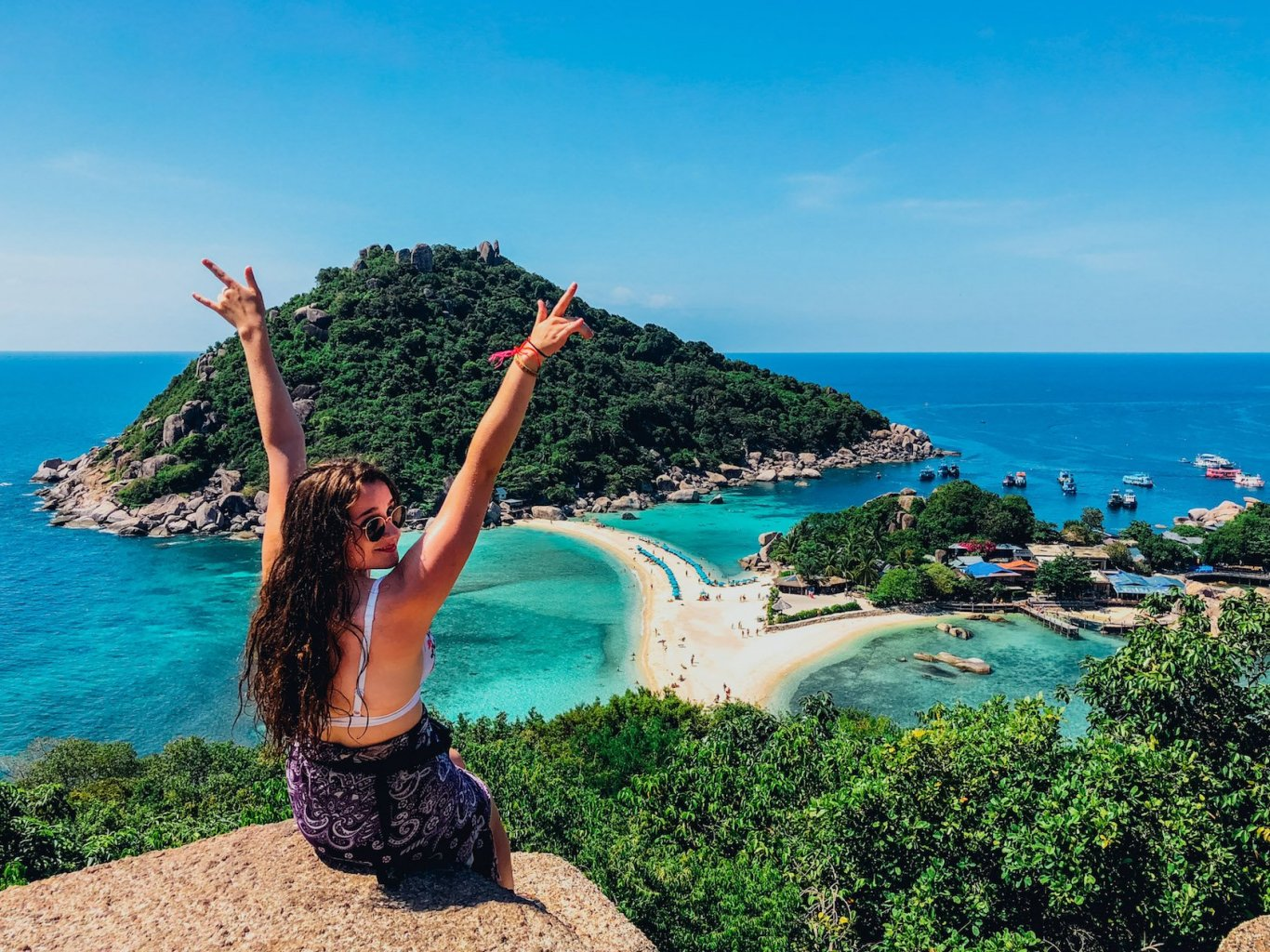 Girl at the viewpoint in Nang Yuan Island Koh Tao overlooking the incredible views